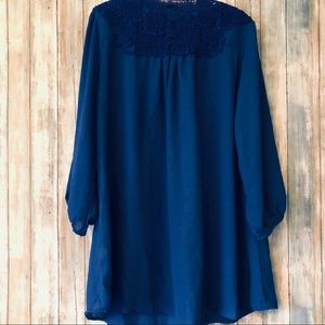 Tops - Royal Blue Light Tunic With Crochet trim